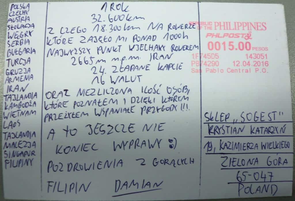 pocztówka z opisem roku jazdy rowerem